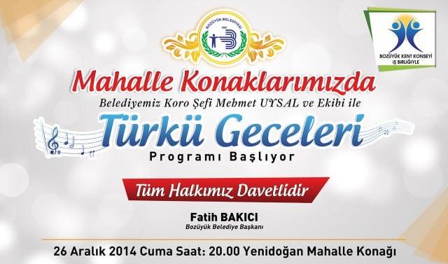 """""""TÜRKÜ GECELERİ""""NİN İKİNCİSİ YENİDOĞAN MAHALLE KONAĞINDA"""