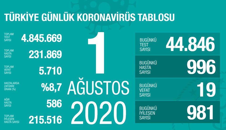 Türkiye Günlük Koronavirus Tablsou 1 agustos 2020